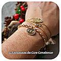 Plaqué or bracelet mailles rondes petite médaille boules 15 mm