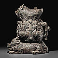 A very large bronze archaistic vessel, gong, qing dynasty (1644-1911)