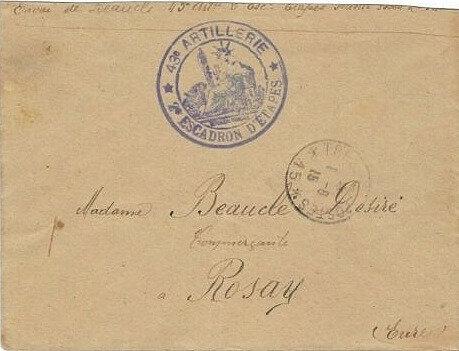 Envoi de Désiré Beauclé, 2e escadron d'étapes du 43e RAC à son épouse le 01