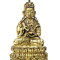 A gilt-copper figure of padmasambhava, tibet, 17th-18th century