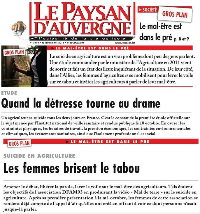 Le Paysan d'Auvergne Cécile Nouzille-Favre d'Anne 15 novembre 2013