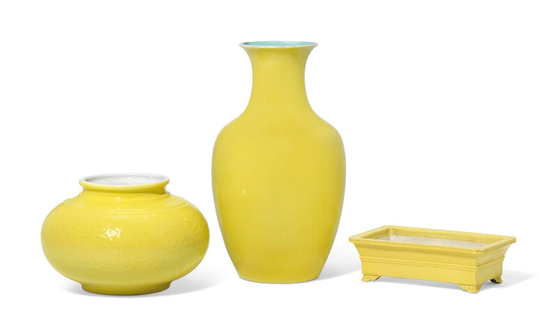 Three yellow-glazed and yellow-enamelled vessels, 18th century
