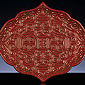 A very rare ming cinnabartixilacquer bracket-lobed lozenge-shaped tray, ming dynasty, 15th-16th century