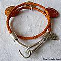 Bracelet Toi & Moi en cuir orange 3 médaille et Croix en métal