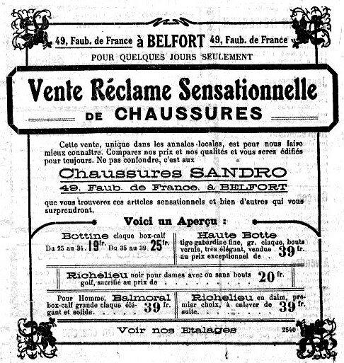 1922 03 18 Mi carême La Frontière Pub Sandro