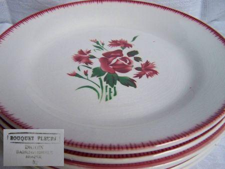 Assiette à dessert Bouquet fleuri Fan de Digoin