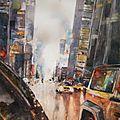Aquarelle urbaine, rue de new york, à la tombée de la nuit, par jour de pluie