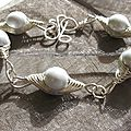 bracelet wire perles blanches