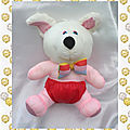 doudou_peluche_chien_ours_puffalump_rouge_rose_blanc_noeud_vinta