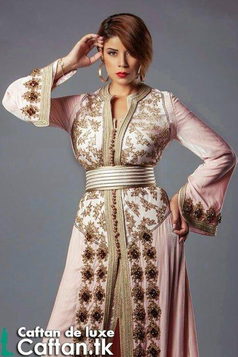 Luxueux caftan rose clair 2014 - Caftan haute couture 2016   2017