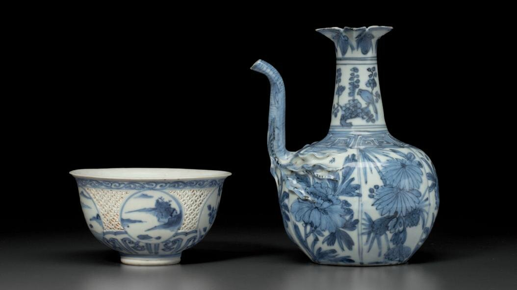 Two blue and white vessels, mid-17th century