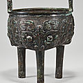 An archaic bronze ritual food vessel (liding), Late Shang-Western Zhou dynasty