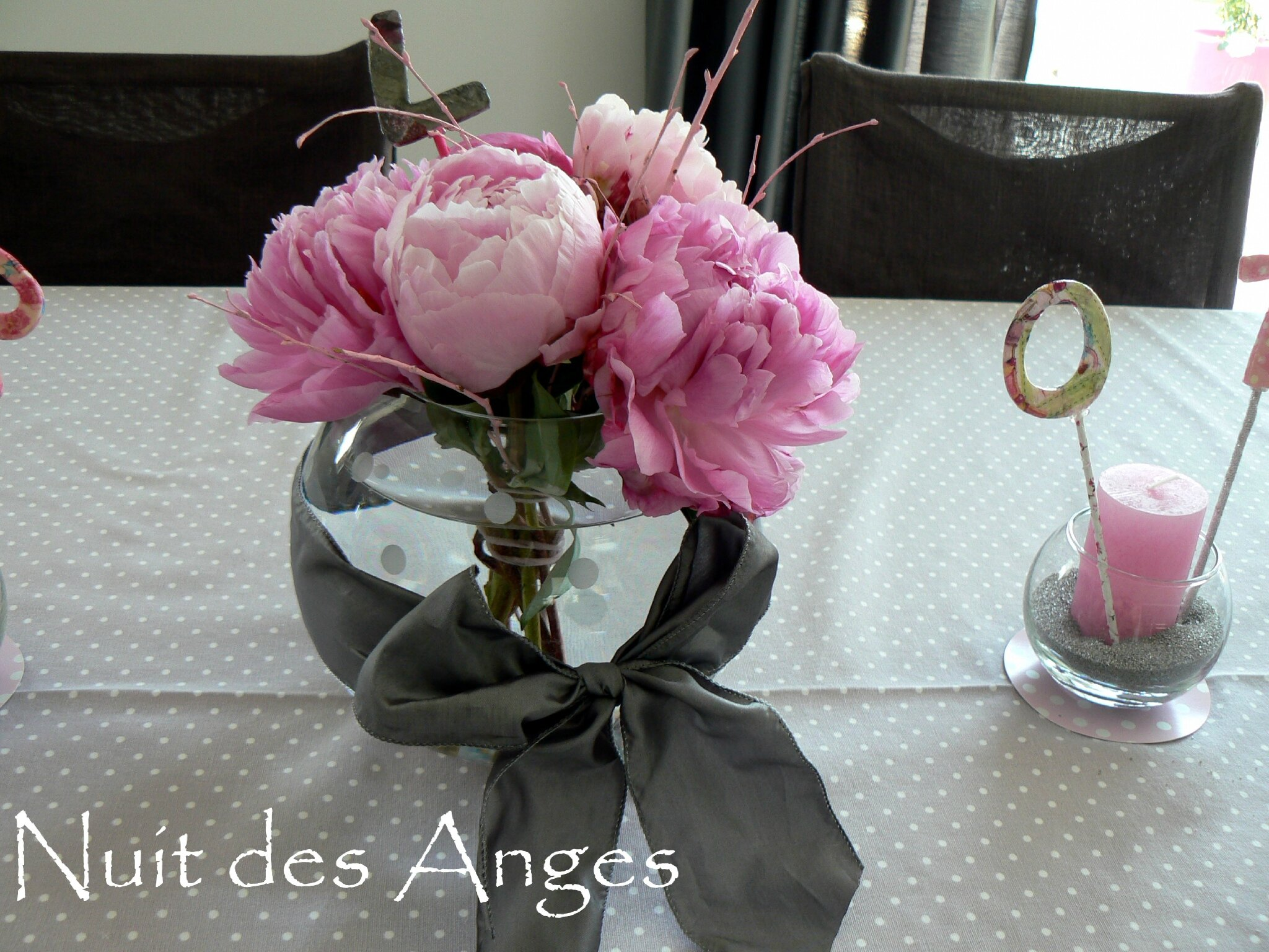 Nuit Des Anges Décoratrice Décoration De Table Baptême Rose Et Gris 006