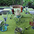 Déco de table improvisée avec mes poissons tricotés...