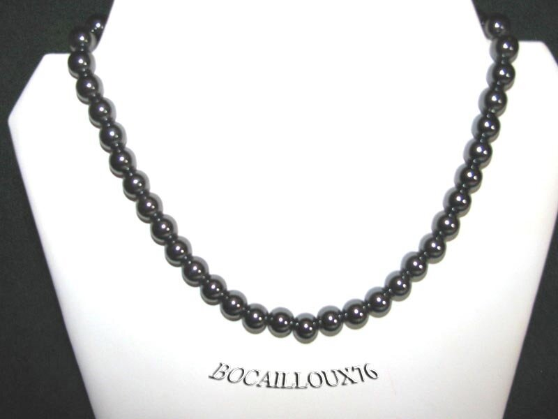 Collier HEMATITE 6 Perles 10mm (2)