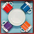 Coffret 4 tasses & 4 soucoupes à café pantone - w2 products - made in design