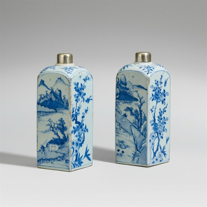Two blue and white 'gin' bottles, Late Ming dynasty