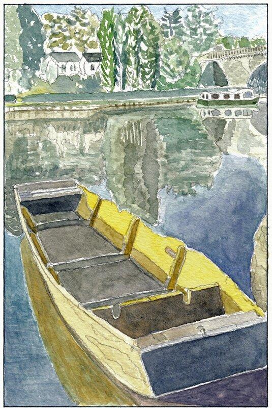 47 Solesmes - Barque et pénichette devant le pont 1995 08 20 (1 de 2)