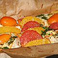 Maxi papillote de cabillaud, agrumes, gingembre et patates douces