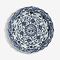 A small blue and white barbed dish, ming dynasty, yongle period (1403-1424)