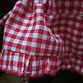 Panty en coton vichy rouge et blanc - taille élastique - lien de serrage au bas (4)