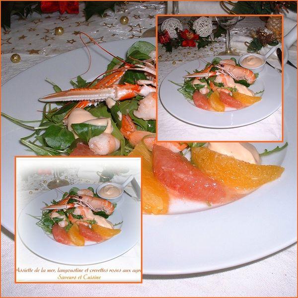 Assiette de la mer, langoustine et crevettes roses aux agrumes