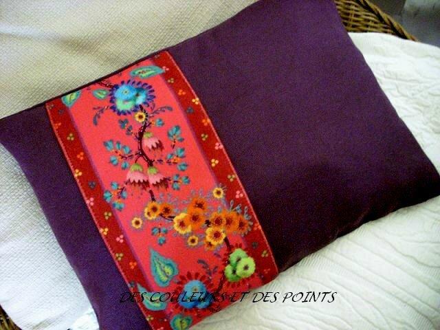 coussin botanique violet BIS