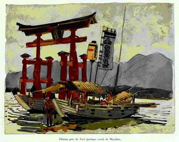 Pèlerins près du Torii (portique sacré) de Miyajima (1914)