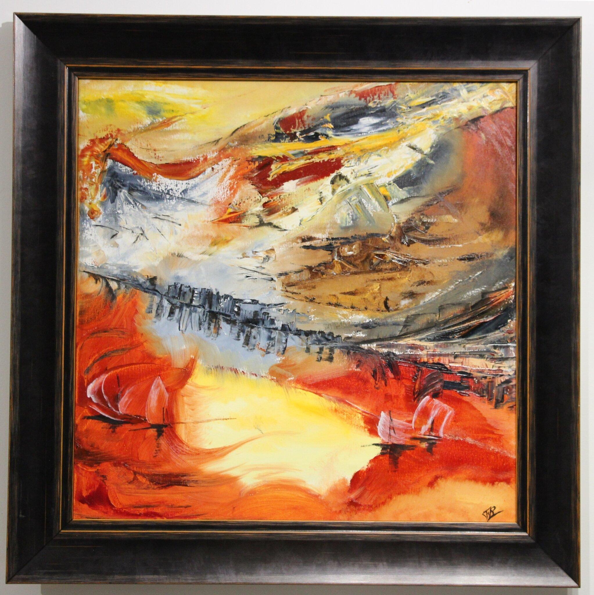 La montagne était rouge- huile 2014- cadre noir filet orange- 50x50cm- -(n°50)