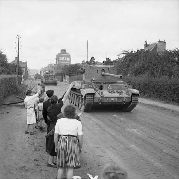 Challenger_and_Cromwell_tanks_Flers_Aug_1944_IWM_B_9331