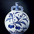 An extremely rare and important blue-and-white 'lychee' moon flask, yongzheng period, 1723-1735