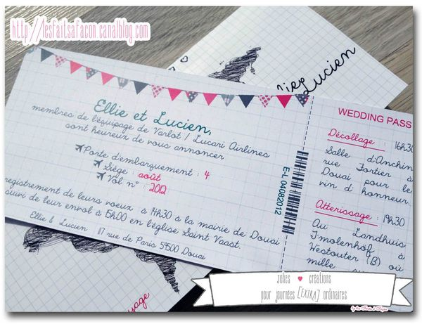 faire-part billet d'avion carte dessin billet fanion
