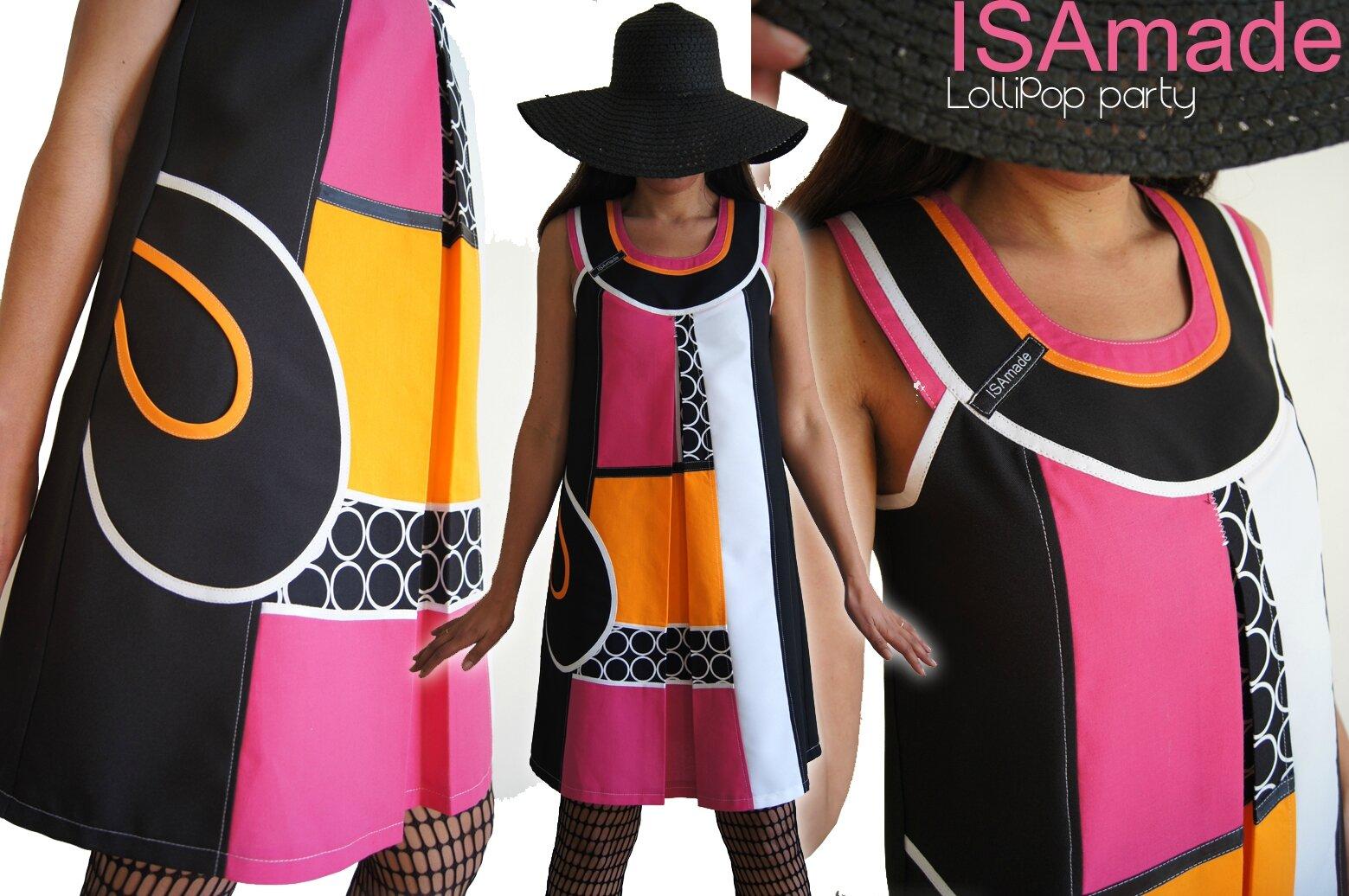 Robe trapèze Chasuble Asymétrique Noire & Blanche et couleurs acidulées Graphique Couture tendance Printemps2014