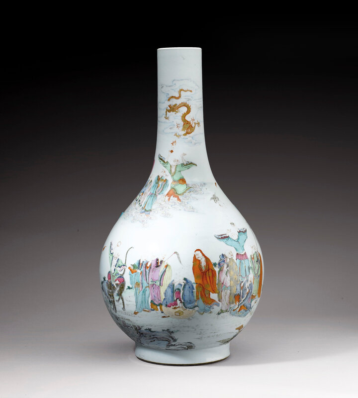 A rare and massive '18 luohans' famille rose bottle vase, China, Qing dynasty, 18th century
