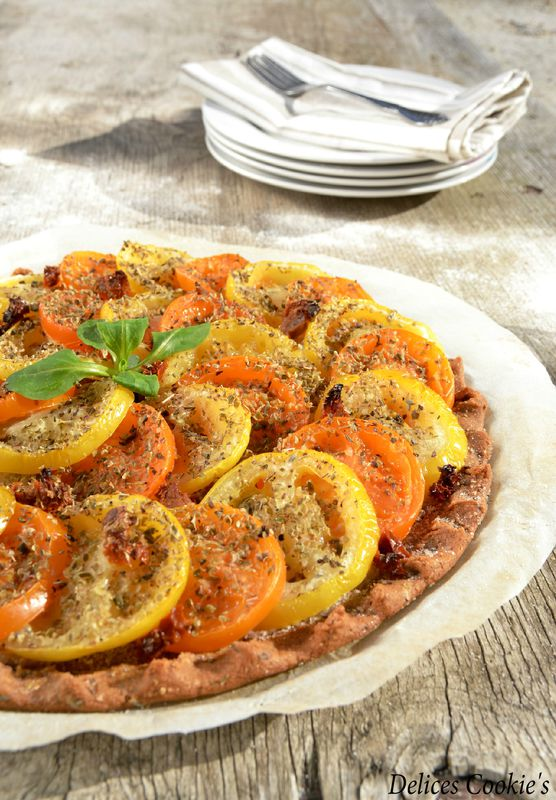tarte fine tomates moutarde a l'ancienne tomates sechees pois chiches IG bas