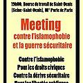 Saint denis, 6 mars : meeting contre l'islamophobie.