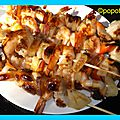 Brochettes st jacques et gambas ananas