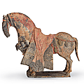 A painted grey pottery figure of a caparisoned horse, northern wei dynasty (ad 386-534)