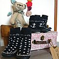 chaussons chaussettes funky giraffe regression ours fait main liberty valise carton fleurie