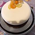 Entremets fruité à la mandarine, curd mandarine ,croustillant praliné spéculoos