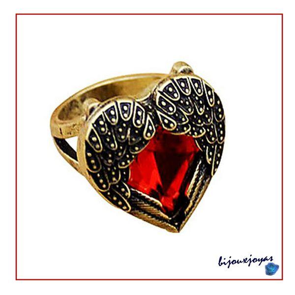Bague Amour Eternel Coeur Rouge Et Ailes D'ange Métal Couleur Bronze T 53_54