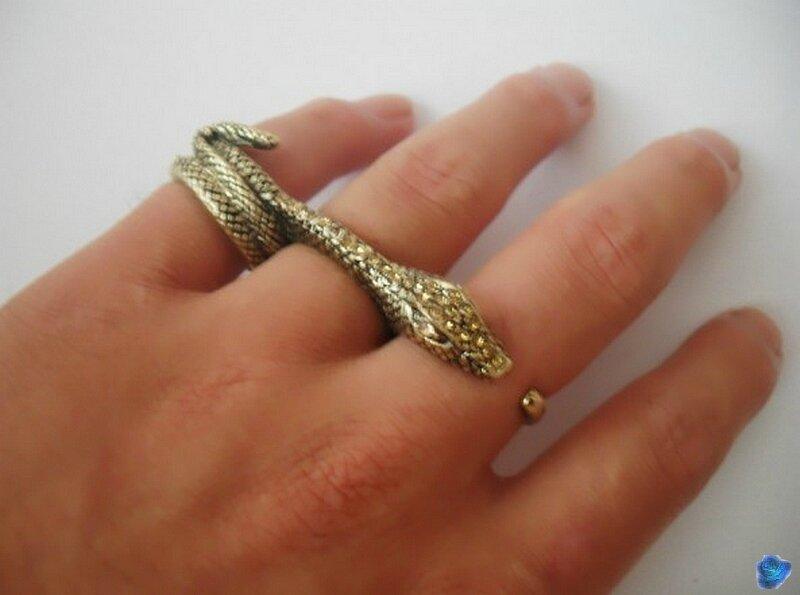 Bague Fashion 3 Doigts Serpent Métal Couleur Bronze Strass Topaz Unisexe