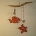 Suspension murale raku poisson et étoile de mer + bois flotté