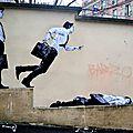 Levalet met en scène des personnages dans les rues de paris.