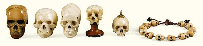 Lot de quatre crânes en ivoire d'éléphant, probablement France, du XVIIe au XIXe siècle