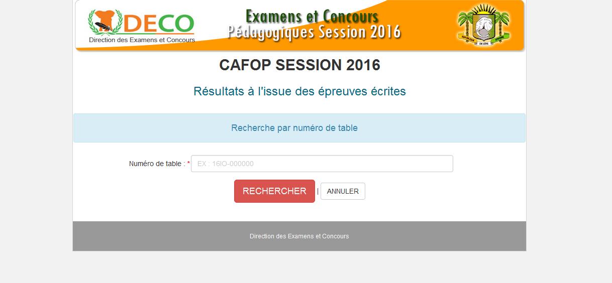 MEN/DECO/CONCOURS CAFOP SESSION 2016/ RÉSULTATS PREMIER TOUR PUBLIER LE 28/05/2016 20HEURES