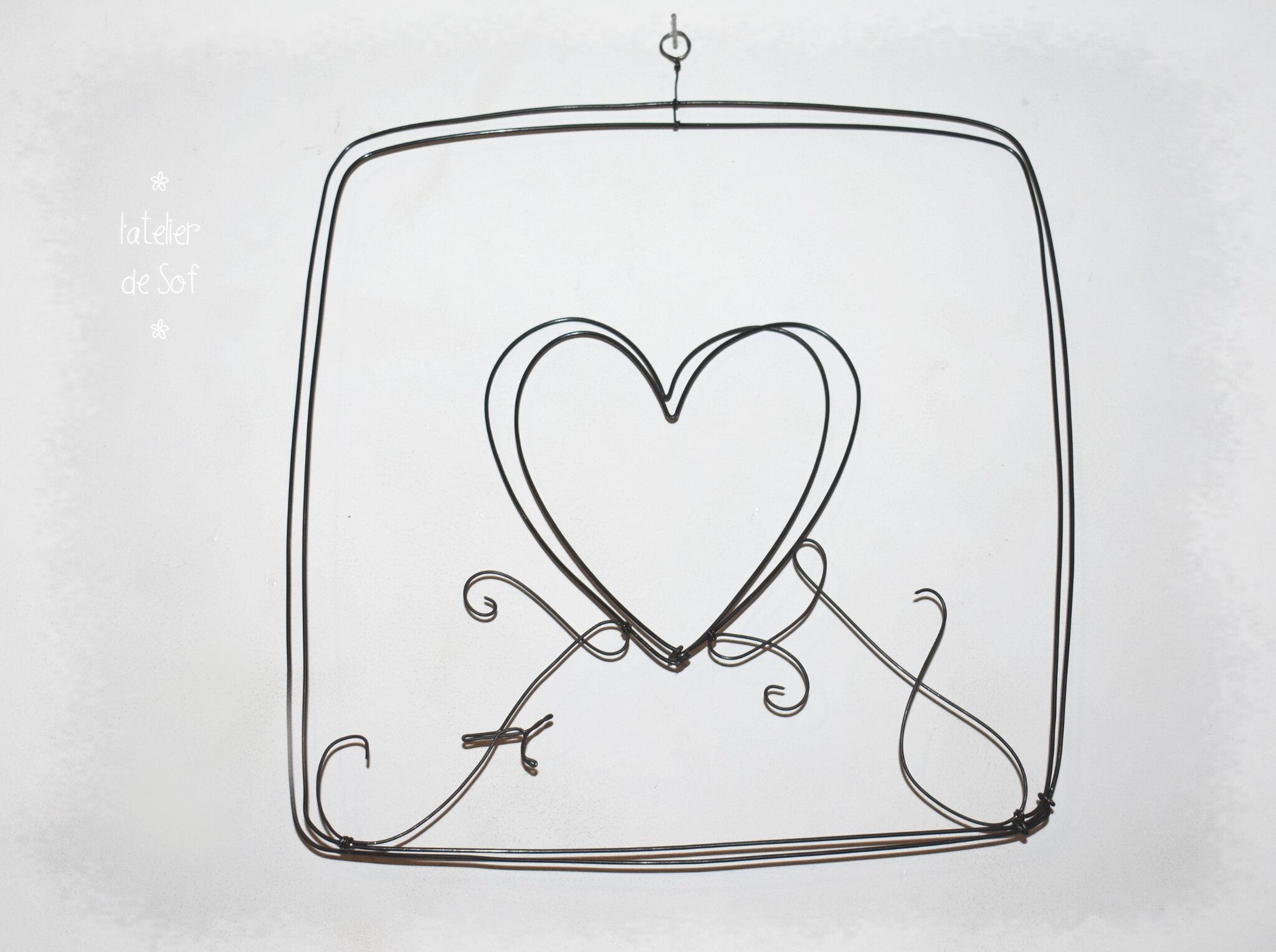 initiales dans un coeur- fil de fer