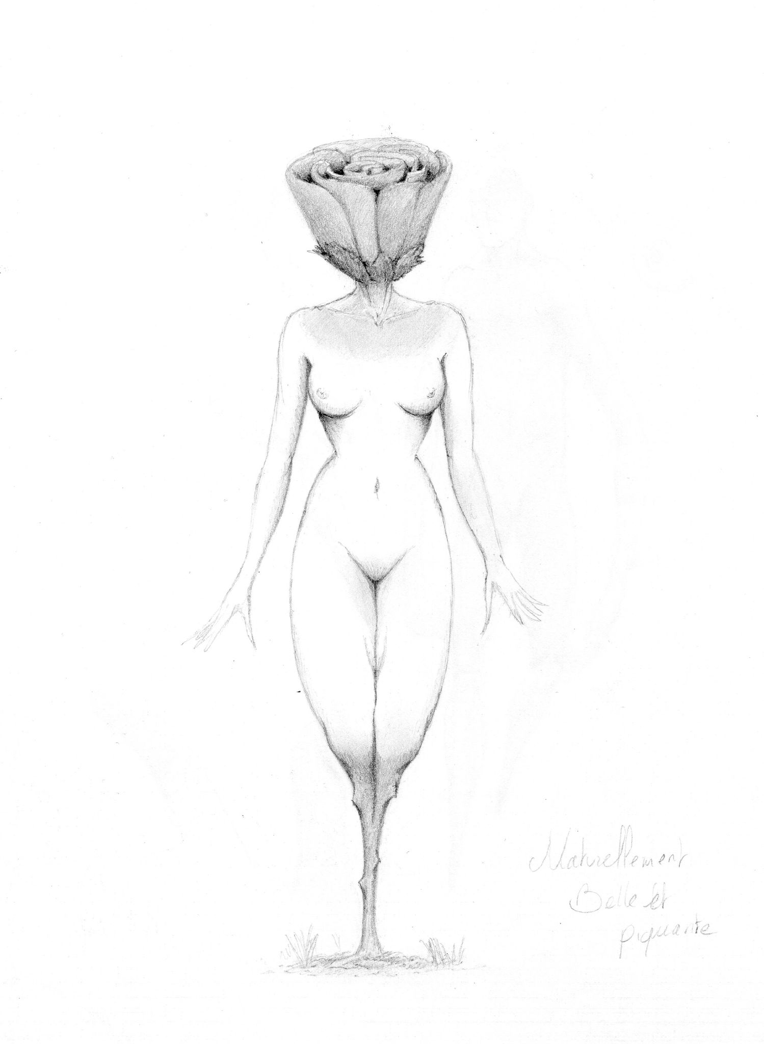 Femme Dessin Corps femme rose - d36, tableaux, affiches, coulure sur corps et surréalisme