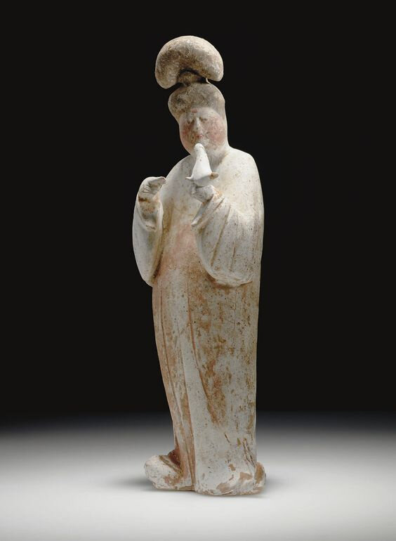 A painted pottery figure of a court lady, Tang dynasty (618-907)