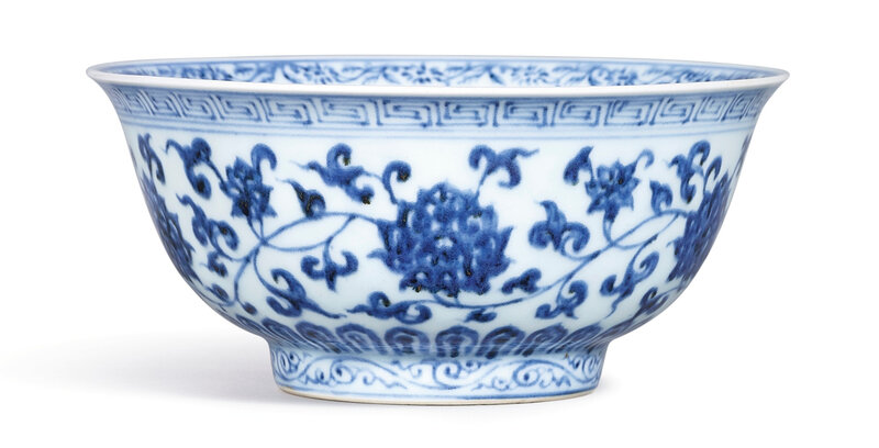 A Fine and Rare Blue and White 'Lotus' bowl, Mark and Period of Xuande (1426-1435)